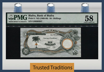 Tt Pk 4 1968-89 Biafra 10/-Shillings Pmg 58 Choice About Unncirculated!
