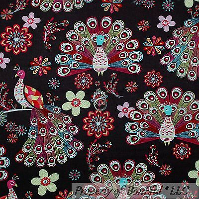 BonEful Fabric FQ Cotton Quilt Brown Pink Blue Peacock Bird Flower Feather Retro