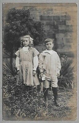 Edwardian era PC - Very sweet and beautifully dressed young brother and sister