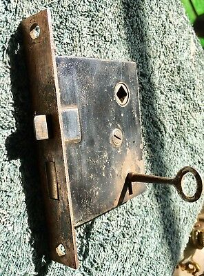 ANTIQUE VTG Copper Japanned MORTISE LOCK SET W WORKING SKELETON KEY