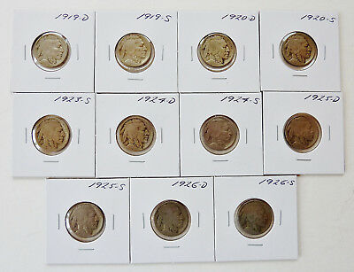 11 Mixed Date 1919-1926 D & S Mint ~ Partial Date ~ Buffalo Nickels
