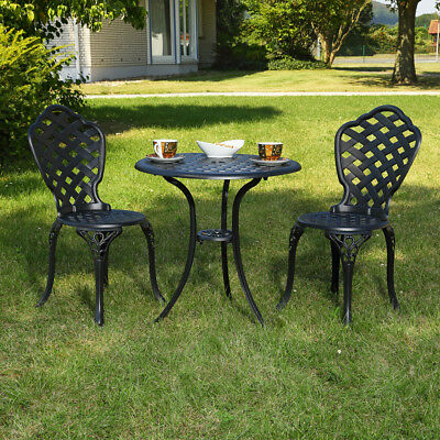 tisch 2 st hle gusseisen antik dunkel gr n bistro set garten sitzgarnitur eur 119 99. Black Bedroom Furniture Sets. Home Design Ideas