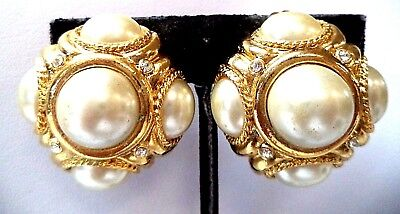 "Stunning Vintage Estate Gold Tone Faux Pearl Clip 1 1/4"" Earrings!! 7996O"
