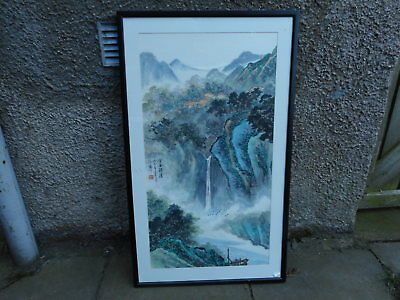 Large Framed Vintage Chinese Ink Wash Painting  Mountains Scene  (Signed )