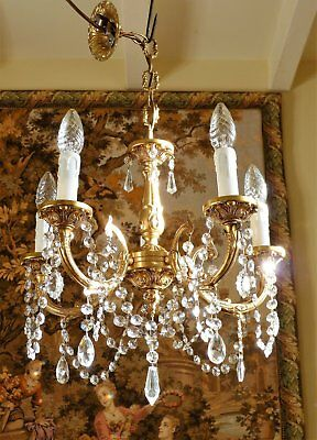 Pretty French Rococo Vintage Gilt Brass & Crystal Chandelier Ceiling Light Lamp