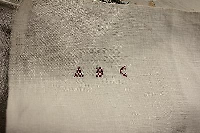 Antique French PURE linen soft monogram hand / kitchen towel 18th / 19th ABC