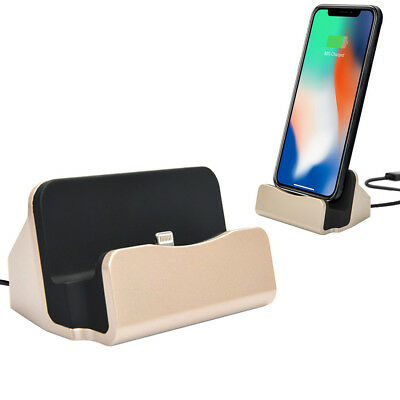 Lightning Charging USB Dock for Apple iPhone X 8 8+ 7 Plus 7 6S 6S+ (Gold)