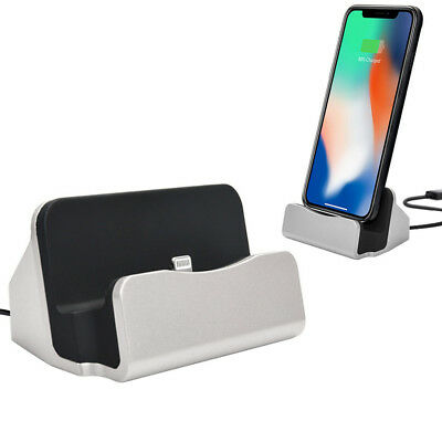 Lightning Charging USB Dock for Apple iPhone X 8 8+ 7 Plus 7 6S 6S+ 6 (Silver)
