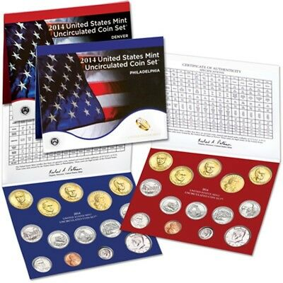 2014 United States Mint Uncirculated Coin Set (Unopened) Stock Photo