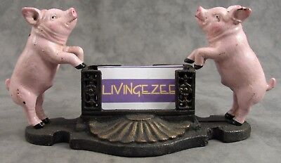 PINK COUNTRY PIG Cast Iron BUSINESS CARD HOLDER ~DESK OR COUNTER DECOR ~