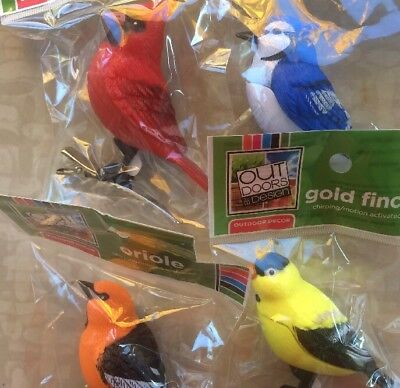 """4 Motion Activated Chirping Bird Blue Jay Oriole Finch Cardinal Ornament 3"""" Clip"""