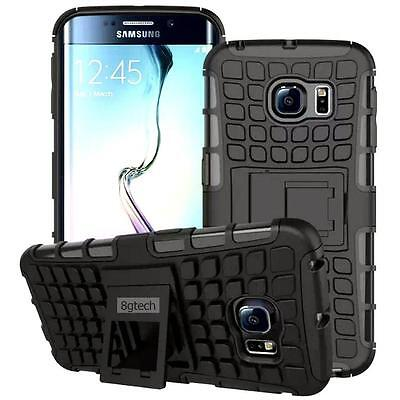 For Samsung Galaxy S6 Tough Rugged Hybrid Hard Stand Case-Black
