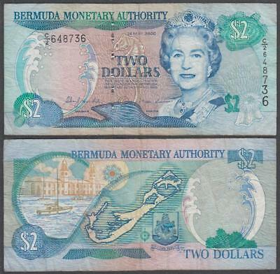 2000 Bermuda Monetary Authority Queen Elizabeth II 2 Dollars