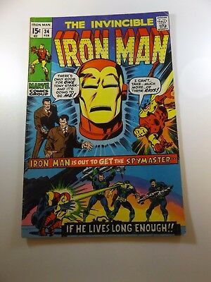 "Iron Man #34 VG- condition 1"" spine split Huge auction going on now!"