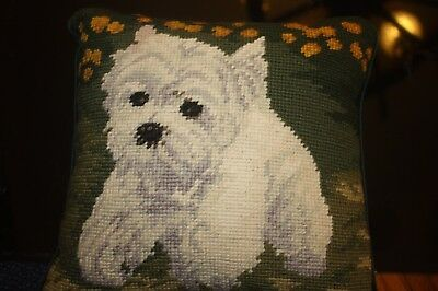 WEST HIGHLAND TERRIER HANDMADE NEEDLEPOINT pillow needlepoint