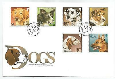 ISLE Of MAN 1996 DOGS SET on FIRST DAY COVER