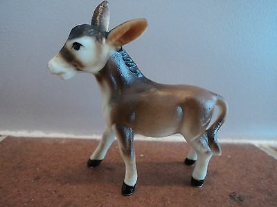 Vintage Miniature Hand Painted/crafted Pottery Donkey/foal (Mint) Quirky Item.