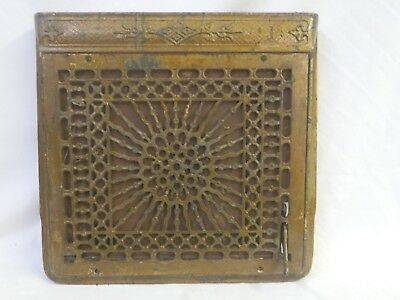 Antique Cast Iron Grate Register Grille Wall Victorian W/ Frame & Damper =