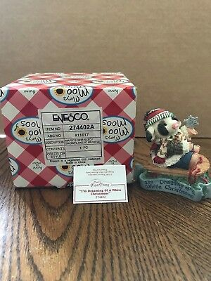 "Enesco Mary's Moo Moos ""I'm Dreaming Of A White Christmoos"" Cow on Sled  274402"