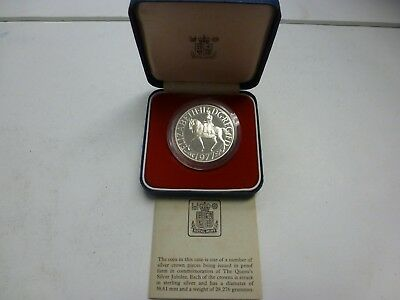 1977 Uk 0.925 Silver Proof Crown Coin With Case & Coa