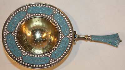 David-Andersen Norwegian Sterling Silver and Cloisonné Enamel Tea Strainer