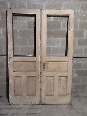 ~ ANTIQUE OAK DOUBLE ENTRANCE FRENCH DOORS  ~ 60 x 90 ~  ARCHITECTURAL SALVAGE
