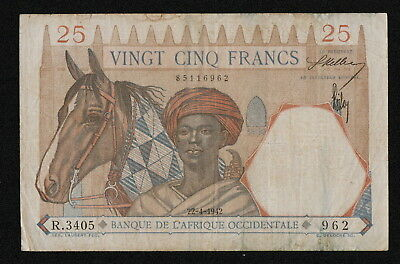 FRENCH WEST AFRICA (P27) 25 Francs 1942 F+