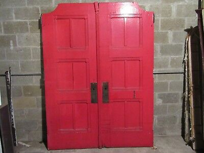 ANTIQUE OAK DOUBLE ENTRANCE FRENCH DOORS  ~ 67 x 89 ~  SET 3 OF 3  ~ SALVAGE