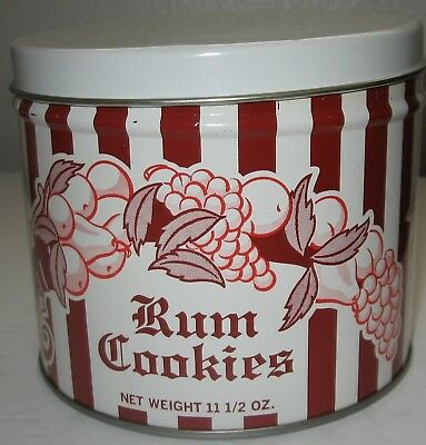 Vintage Grace Rush Rum Cookies Tin Olive Can Co Striped Fruit Cornucopia