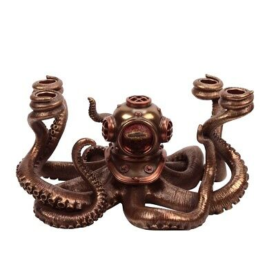 Bronze Nautical Steampunk Octopus Dive Helmet Candle Holder Fantasy Ocean Decor