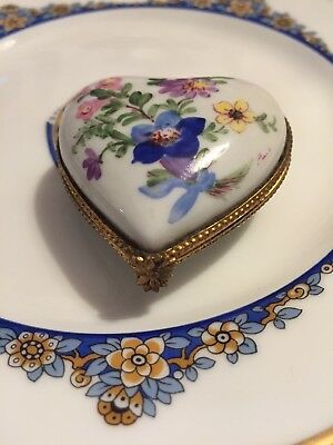 Vintage LIMOGE French Floral HEART Trinket Box Gilded Hand Painted