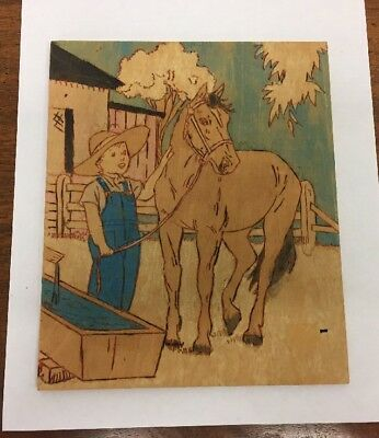 "Fun Folk Art Wood Hand Painted 6.75"" X 8"" Boy & Horse Picture"