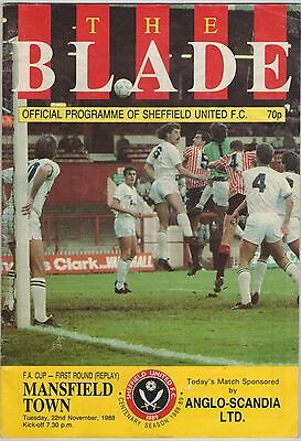 SHEFFIELD UNITED v MANSFIELD TOWN FA CUP 1ST ROUND REPLAY NOV 1988 PROGRAMME