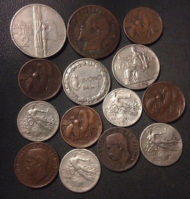 OLD ITALY COIN LOT - 1862-1934 - 14 Collectible Vintage Coins - Lot #N17