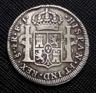 1813 FJ CHILE Santiago 4 REALES - KM # 67 - low mintage - VERY RARE SILVER COIN