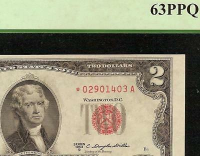 Unc 1953B Star $2 Dollar Bill United States Legal Tender Red Seal Note Pcgs 63