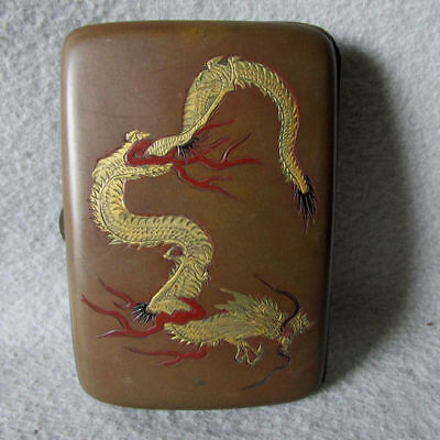 Antique Asian Mixed Metal Cigarette Case with Dragon, Iris, Crane Bird