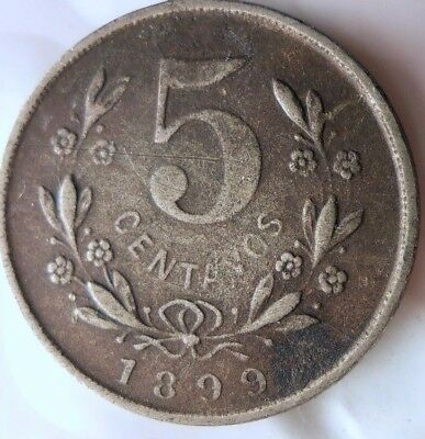 1899 NICARAGUA 5 CENTAVOS - RARE Low Mintage Scarce Coin - Lot #N17