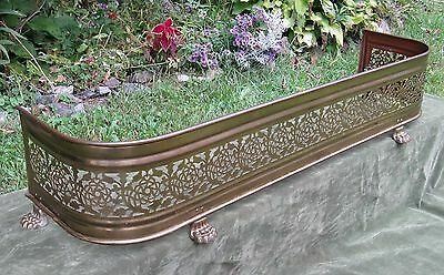 "42"" Pierced Paw Foot Brass Fireplace Fender Fire Screen Antique 19thC Style"