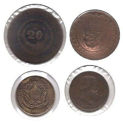 Brazil Lot of 4 20 Reis Coins ND (1809), ND (1835), 1869 & 1910