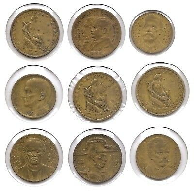 Brazil Lot of 9 500, 1000 & 2000 Reis Coins 1922 - 1939