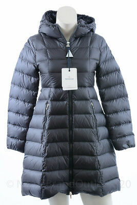 Moncler Bibiane charcoal girls 12 quilt pleated hood puffer coat jacket NEW $765