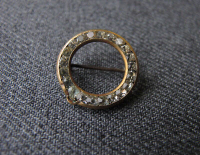 Antique art deco clear rhinestones golden metal miniature rounded pin