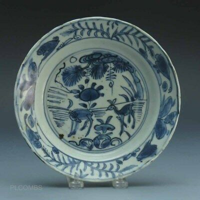 Chinese Wanli Blue and White Plate 2 Deer Landscape Scene