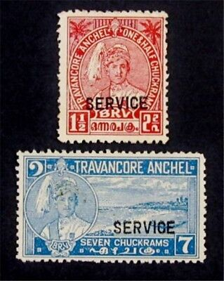 nystamps British India Travancore Stamp # O46 O50 Mint with Gum H $45