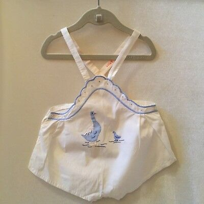 VINTAGE BABY ROMPER SUNSUIT with APPLIQUE DUCKS & EMBROIDERY
