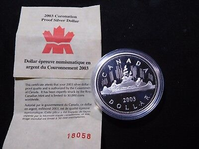 INV #W24 Canada 2003 Sterling Silver Dollar Coronation Proof w/ COA