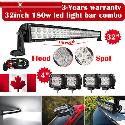 "32inch Curved Led Light bar +4X 4"" CREE Work Pods Offroad Ford Jeep SUV Truck 30"