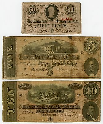 (Lot of 3) T-63, T-68, T-69 Confederate States of America Notes - NO RESERVE!