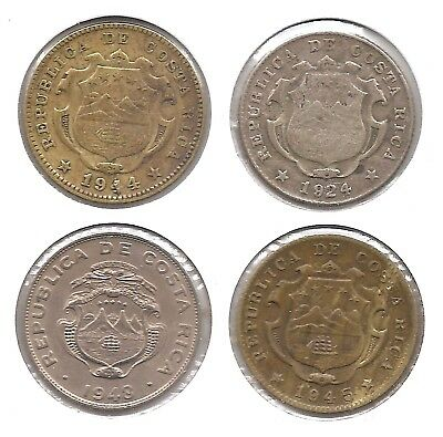 Costa Rica Lot of 4 25 Centimos Coins Silver 1924, 1944, 1945 & 1948